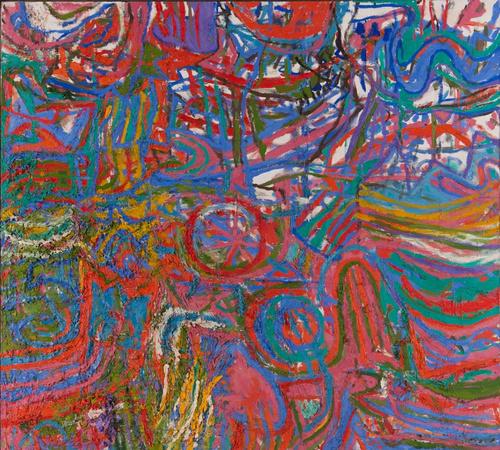 Les Plaisirs de l'isle Enchantee 1967-68. 145.5 x 188cms.  Oil on linen.